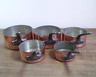 5pc set lot French copper cookware pots pans 'Fabrication Francaise'