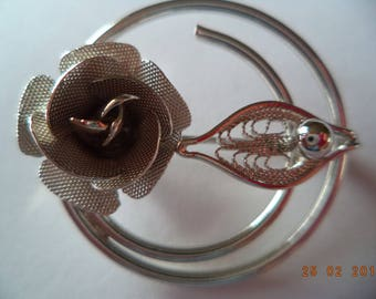 Vintage  Sarah Coventry Silvertone Wired Rose Brooch/Pin
