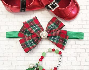 Christmas Hair Bows, Christmas Beaded Bracelets, Holiday Hair Bow Sets, Xmas Hair Bows, Xmas beaded Jewelry, Red Plaid Hair Bows