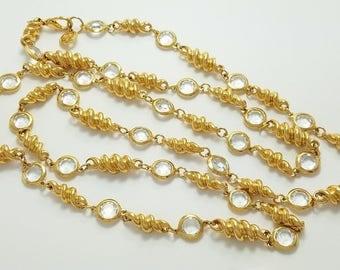 """Vintage St. John Designer Gold-Plated & Crystal 56"""" Long Necklace 229 Grams"""