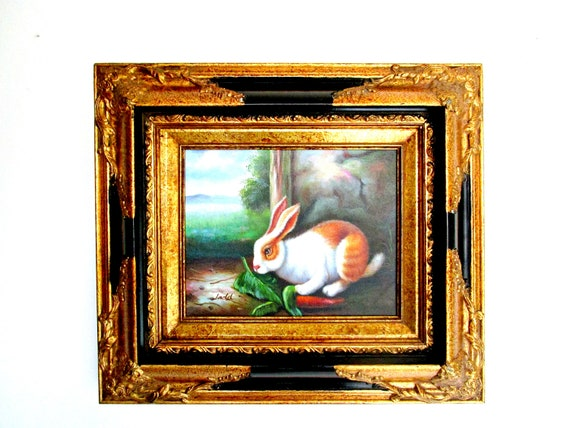 Vintage Oil Painting, Rabbit in Woods, Signed Ladd, Vivid English or French Country Decor, English or French Hare, Gorgeous Gold Gilt Frame