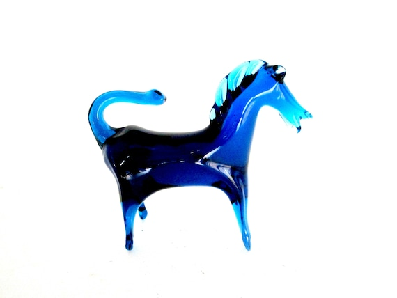 Mid Century Horse Figurine, Glass Horse Statue, Blue Glass Horse, Mid Century Decor