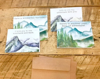 watercolor mountains nature greeting card