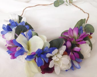 Flower Halo Crown Wreath (blues, purples, white) with real pearls