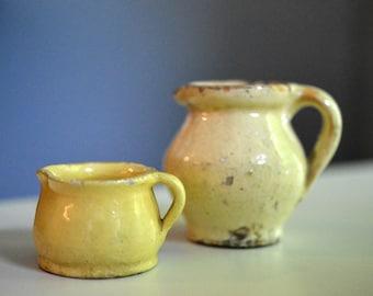 Miniature Yellow Stoneware Pitcher and Jug