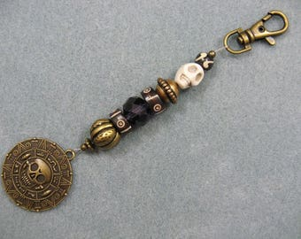 Beaded Jack Sparrow pirate style keychain with big skull coin