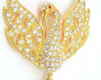 Jackie Kennedy Swan Brooch - Gold Plated. Swarovski Crystals & Faux Pearl Accent, Box and COA