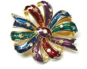 Joan Rivers Multi-color Bow Pin Brooch with Crystals -           - S2180