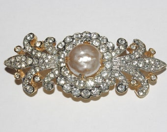 KJL Brooch - Gold Tone with Crystals and Mabe Pearl Center - S2439
