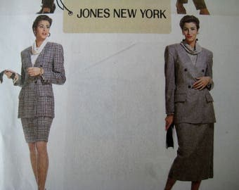 Double Breasted Jacket Sewing Pattern McCalls 6249 Suit Jones New York Pleated Pants Straight Skirt Cowl Neck Blouse Size 12 UNCUT
