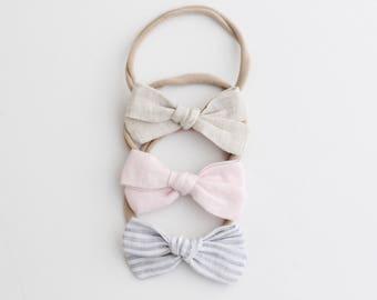 Baby Headbands, Linen Bow Headband, Bow Headband, Linene Headband, Nylon Headband, Baby Headband, Bow, Baby Accessories, Baby Gift