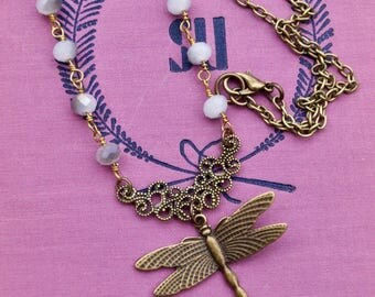 Dragonfly Pendant Necklace, garden style jewelry, rosary style chain