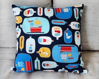 Pirate pillow case for child's room, 40x40 cm - Robert Kaufman // gift for baby // gift for boy // decoration kid room