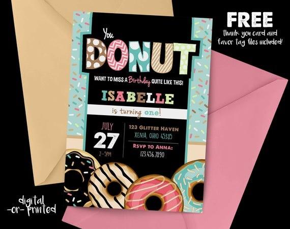 Donut Chalkboard Birthday Invitation First Birthday