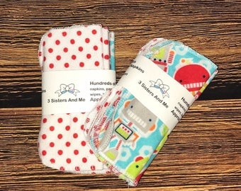 Set of 5 Blue Robots  Reusable Cloth Wipes, face wipes, washcloth, cloth diapers