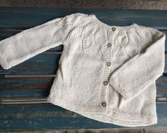 Girl winter knits, Toddler cardigan sweater, Toddler girl knitted cardigan, Girl white winter sweater, natural wool sweater, hand knitted