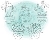 Succulent Digital Stamp, Coloring Images-DS52-SUCCSET
