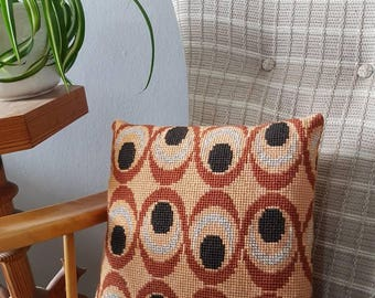 Lovely  beige/brown cross stitch/needle point/embroidered decorative pillow/cushion with retro pattern from Sweden