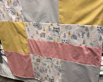 Baby crib blanket, quilt style , deers, grey and gold x on pink, grey minky