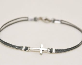 Reserved for Katherine - Confirmation gift, cross bracelet for boy, bracelet for boy, boy's bracelet with a silver cross pendant, gray