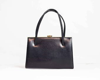 50s Blue Leather Kelly Bag