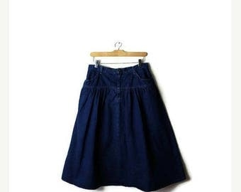 ON SALE Vintage Blue Denim flare Skirt from 1980's/W29*