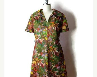 ON SALE Vintage Floral Photo Printed Short sleeve Dress from 70's*