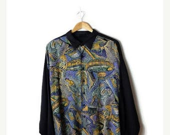 ON SALE Vintage Oversized Abstract x Black trim Slouchy  Blouse/ shirt from 1980's*