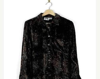 ON SALE Vintage Black/Orange Leopard Long Sleeve Blouse  from 90's*
