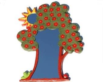 ON SALE 33 % DECORATIVE Gift, Large Wall Mirror, Tree shaped Mirror with red flowers and small sun mirror, House Warming Mirror, home decor,