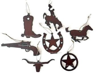 WESTERN Horse Boot Gun Horseshoe star or Texas star Ornaments made of Rustic Rusty Rusted Recycled Metal