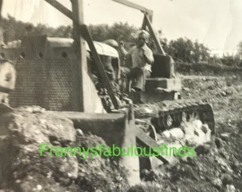 Vintage 1940's to 1950's Photograph of Man Driving a Bulldozer, Glossy