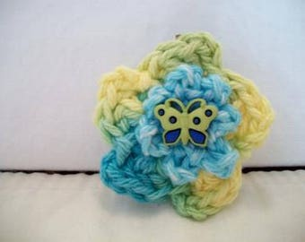 Aqua Crochet Flower Hair Clip Barrette Yellow Floral Butterfly Fashion Accessories For Her