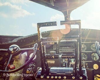 WWII B-17 Cockpit - War Memorabilia - Vintage Military Images - 8x12 - Airplane - Sun Flare - Fpoe