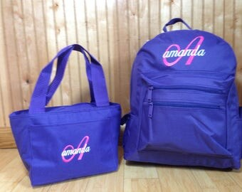 Backpack and Lunchbox/Personalized Solid Color School Girls Backpack/Kids bookbag/Backpack and lunchbox set