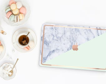 Paris Mint and Makrana Marble and Rose Gold Edge Hybrid Hard Case for Apple Mac Air & Mac Retina , New Macbook 2016 - Platinum Edition