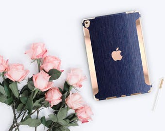 "Brushed Blue with Rose Gold for the iPad Pro 9.7 / iPad Pro 10.5"" / New iPad 9.7"" Smart Keyboard compatible Hard Case - Platinum Edition"