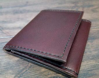 Trifold wallet horween chromexcel leather burgundy
