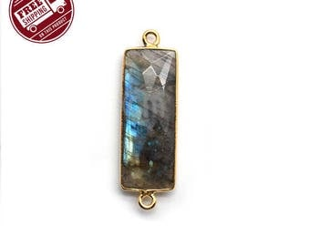 Blue Flash Labradorite Link Connector, 31x10mm Bezel Gold Plated Rectangle Shape Gemstone Charms Connector 1pc (LB-50051)