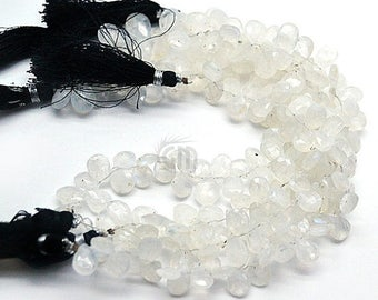 """25% OFF Single Strand Rainbow Moonstone Briolette Beads, 10x7mm Faceted Gemstone Teardrop Beads 8"""" Inch Long (DRRM-70002)"""