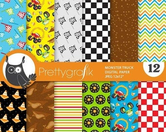 80% OFF SALE Monster truck digital paper, commercial use,  scrapbook papers,  background - PS876