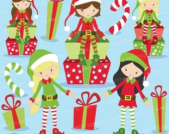 80% OFF SALE 80 Percent 0FF Sale Christmas Elves clipart commercial use, vector graphics, digital clip art, digital images  - Cl598