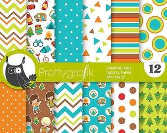 80% OFF SALE Camping digital papers, great outdoors commercial use, camping scrapbook papers, forest background  - PS811