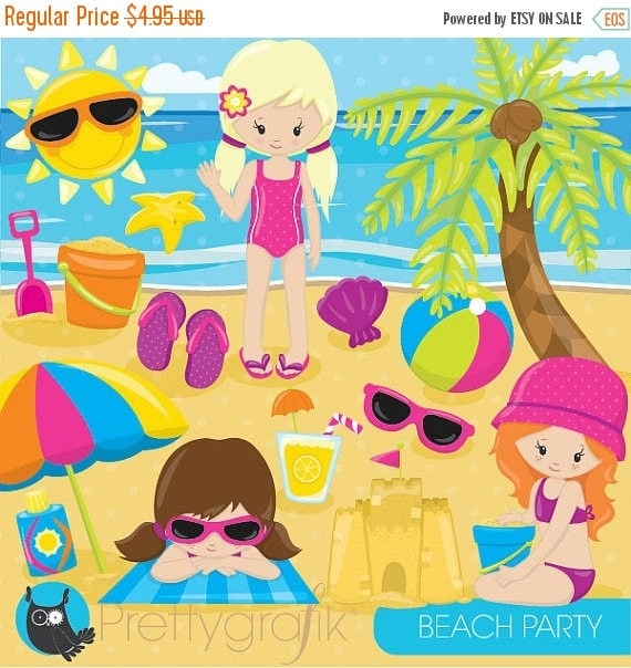 80 off sale beach party girls clipart commercial use beach kids rh catchmyparty com summer beach party clipart beach party background clipart