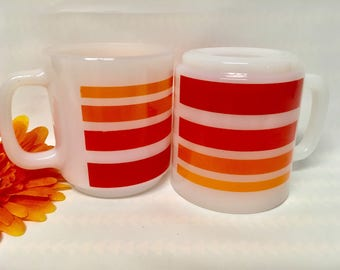 Vintage Mod Striped Glasbake Mugs (2), 1970s Collectible/USA Made/Gift Idea/Retro/Replacements/Contemporary/Vintage Kitchen