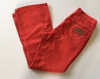 60s 70s Wrangler Jeans - Red Denim High Waisted Rockabilly Jeans - Pinup - VLV Valentines Day