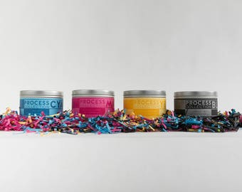 4 PACK of 1 lb. Soy Candles / CMYK / Scented Candles / Wood Wick / Pine / Rose / Clove / Tobacco / Orchid Blossom / Amber / Cactus Flower