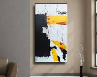 "ON SALE 48"" Abstract painting original acrylic wall art large modern art decor Yellow Gray Black White Abstract Acrylic Painting Wall Art AU"
