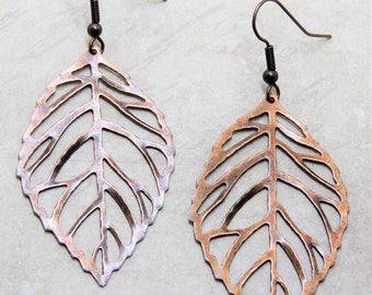Leaf earrings  Copper/bronze