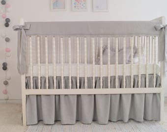 Crib bedding, gray crib rail cover, boy crib bedding ,  rail guard, bumperless crib bedding, linen rail cover